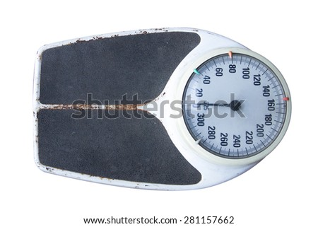 old weight scale on white background - stock photo