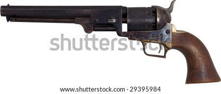 Western Pistols Drawing Old West Pistol Isolated on