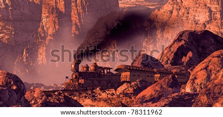 Old west train rolling through a Southwest canyon with rock formations brought out by the morning sun light. - stock photo