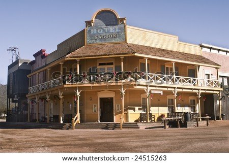 Old western hotel and saloon outside of Tucson, Arizona. - stock photo