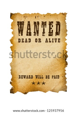 Old western sign, white background. - stock photo