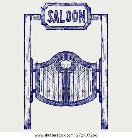 Old western swinging saloon doors. Doodle style. Raster version - stock photo