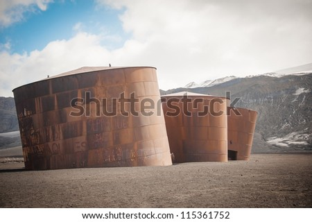 Old whaling' station in Deception island, Antarctica - stock photo