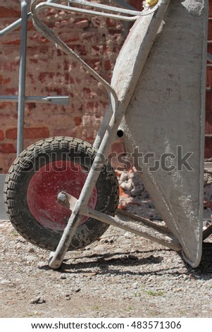 old wheelbarrow details on construction site
