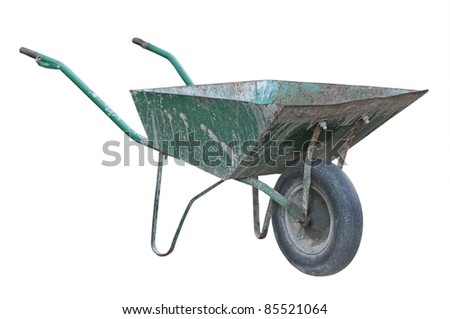 Old wheelbarrow isolated on a white background. - stock photo