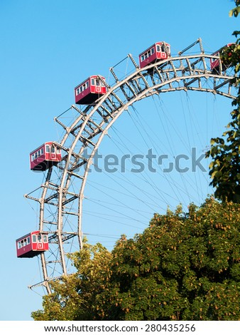 Old wheels of Prater - landmark in Vienna - stock photo