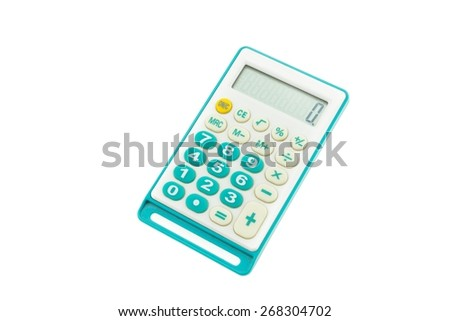 Old white blue Calculator isolated on white background - stock photo