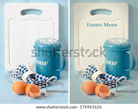 Old white kitchen cutting board with copy-space for writing menu, vintage flour strainer napkin and napkin ring, whisk and eggs. Original and toned photo. Collage. - stock photo