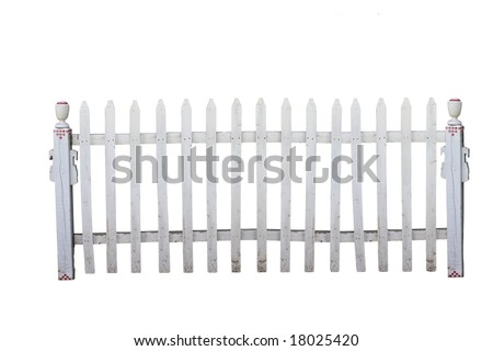 Old white picket fence with clipping path - stock photo