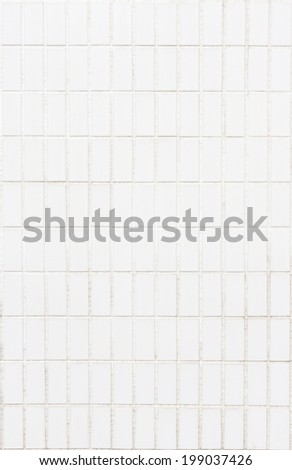 Old white tile wall background texture - stock photo