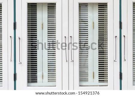 Old white windows - stock photo