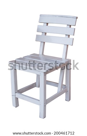 old white wood chair on white background