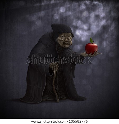 old wicked witch with poisoned red apple - stock photo