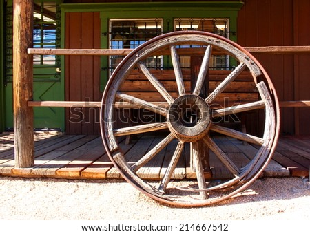 Old Wild West Wagon Wheel - stock photo