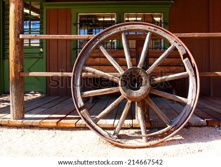 Old Wild West Wagon Wheel - stock photo