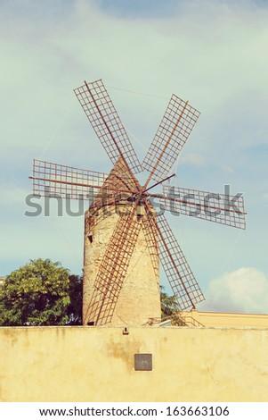 Old windmill from Palma de Majorca. - stock photo