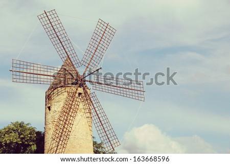 Old Windmill in Palma, Majorca, Spain. - stock photo
