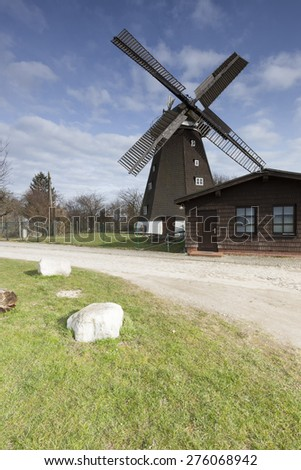 Old windmill in the town Woldegk, Germany - stock photo