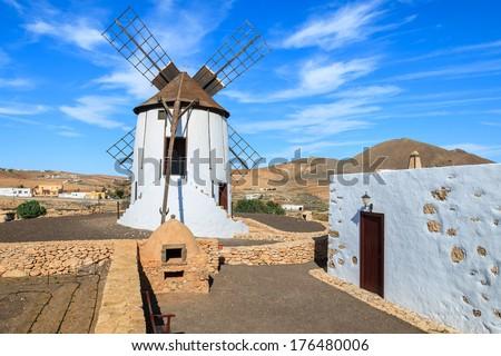 Old windmill in Tiscamanita village, Fuerteventura, Canary Islands, Spain - stock photo