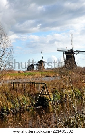 Old windmills at Kinderdijk, Netherlands - World Heritage - stock photo