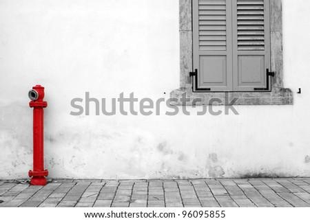 """Old window and hydrant, """"The Tachana"""" , Tel Aviv - stock photo"""