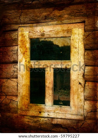 old window - artwork in retro style - stock photo