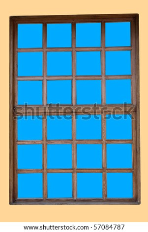 Old window frame isolated on a white background - stock photo