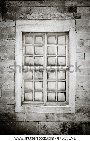 old window in black and white - stock photo