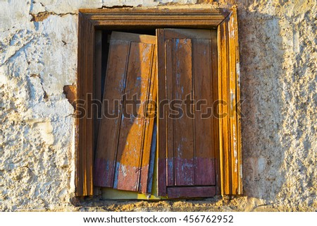 Old window of an adobe house