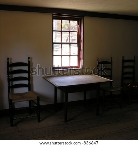 Old window,table and chairs