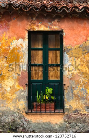 Old window with a plant in Colonia del Sacramento, Uruguay - stock photo