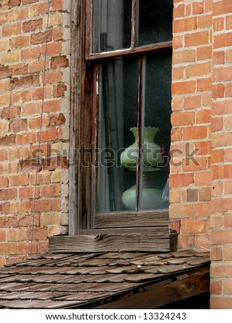 Old window with lamp - stock photo