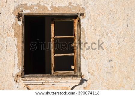 Old window with  no glass - stock photo