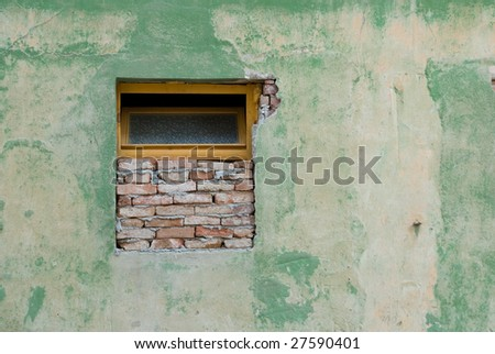 Old Window with Old green wall. - stock photo