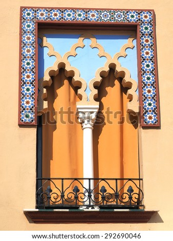 Old windows in Arabian style at Cordoba Spain - architecture background - stock photo
