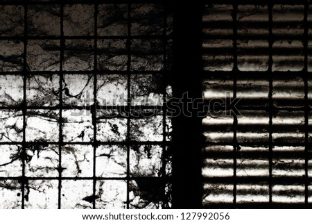 Old windows with stains and cobwebs - stock photo
