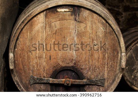 old wine barrel inside winery