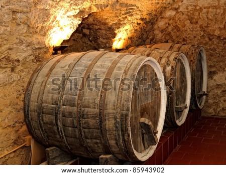 Old wine barrels,wine cellar - stock photo