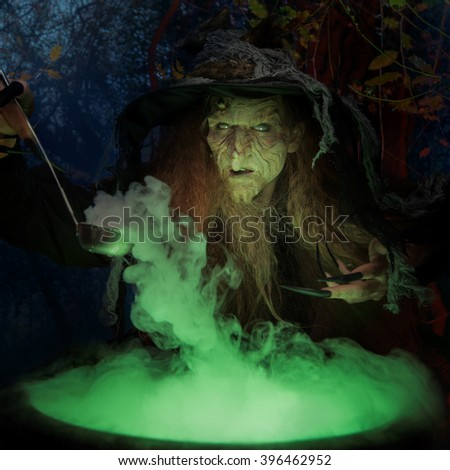 Old witch with magical potion