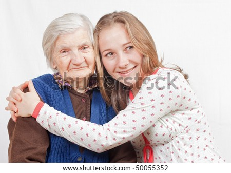 Old woman and the sweet young girl