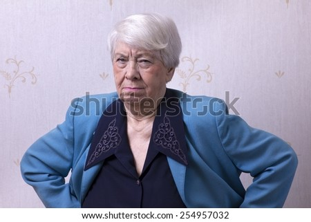 Old woman angry - stock photo