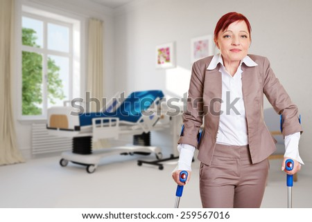 Old woman as patient standing with crutches in a hospital room (3D Rendering of background)