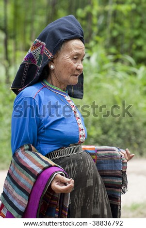 old woman Asia in national costume, Laos