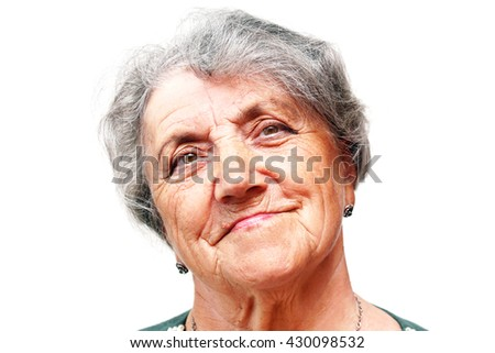Old woman face on white - stock photo