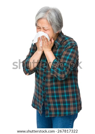 Old woman feel sick - stock photo