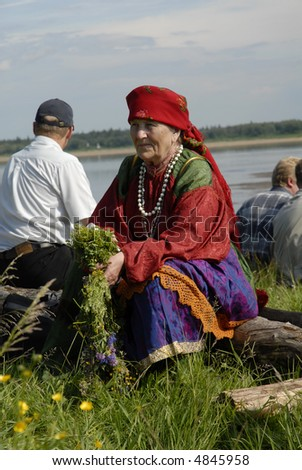 old woman in traditional dress of Komi