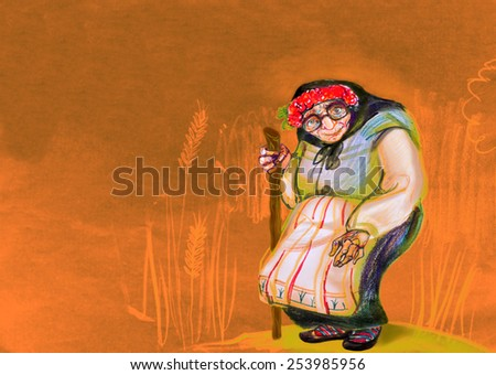 Old woman in traditional Eastern Europe clothes, drawing on paper  - stock photo