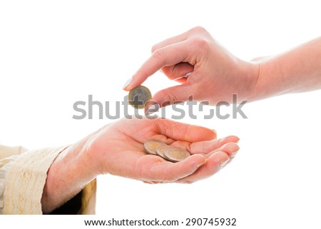 Old woman receiving money from young, who sopports her financially. - stock photo