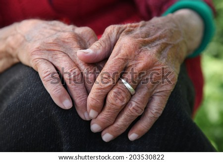 Old woman's hands - stock photo