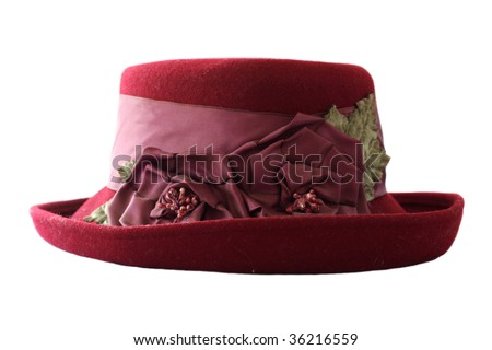 Old woman's red hat - stock photo